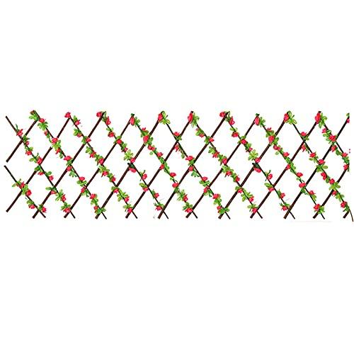Marooma Rankgitter Zaun mit künstlichen Blättern Blume, einziehbare Faux Holz Hecke Panel, erweiterbare Rankgitter Sichtschutz Pfingstrose Wand Dekorative Zäune für Hinterhofdekoration - Rose Rot