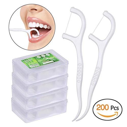 Dental Floss, KWOKWEI 200 Stück Zahnseide/Zahnstocher Stick mit Zahnstocher Halter, Zahn Draht/Zahnpflege Interdental Flossers mit Y-Form Design, Disposable Zahnseidensticks/Zahnreiniger Sticks