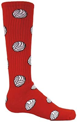 Red Lion Volleyball Pattern Knee High Sports Soft Socks ( Red - Medium )