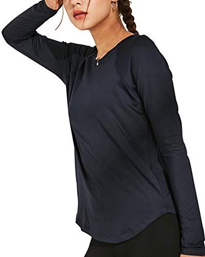 Ropa de Yoga de Manga Larga para Mujer, Chaqueta de Deporte de Secado rápido, Camiseta sin Costuras, de Alta Elasticidad, Ropa Deportiva, Gimnasio al Aire Libre,Armada,S