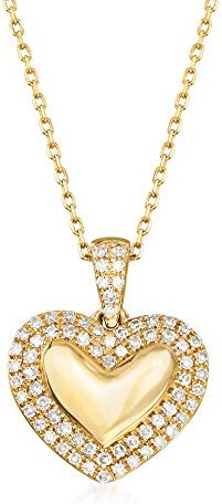 Ross Simons 0 15 ct t w Diamond Heart Pendant Necklace in 14kt Yellow Gold 18 inches product image