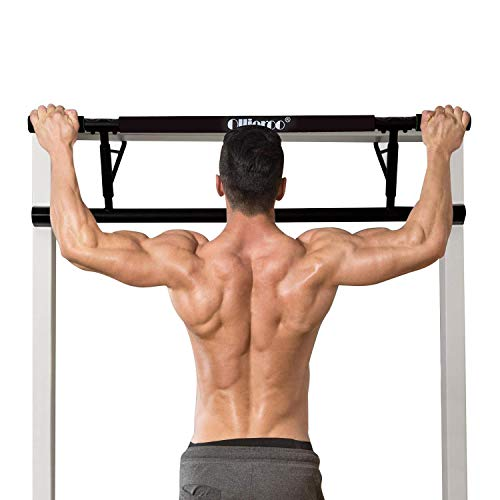 Ollieroo Pull Up Bar Doorway Chin Up Strength Training Bars Multi-Grip Trainer Workout for Home Gym (Black)