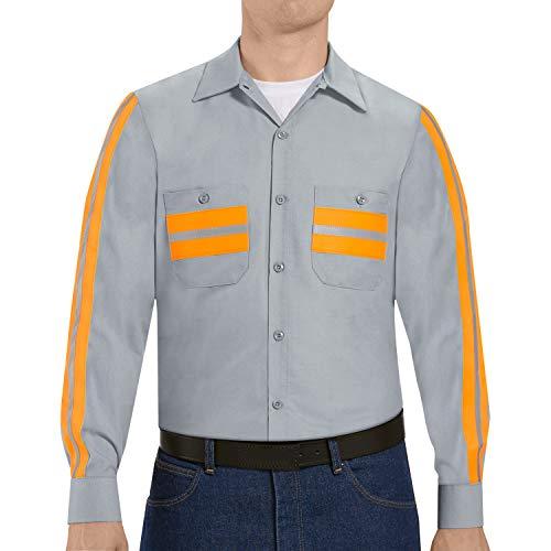 Red Kap Herren Enhanced Visibility Work Shirt, Long Sleeve Button-Down-Arbeitshemd, Hellgrau mit Rand, Mittel