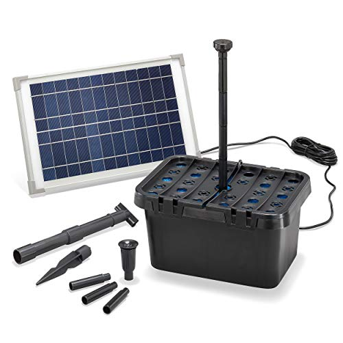 Solar Teichfilter Komplettset Professional - 650 l/h Förderleistung + 12 W Solarmodul - Komplettset für Gartenteiche bis 2.000l - mit dekoratives Wasserspiel - Teichpumpe Solarpumpe esotec 100901