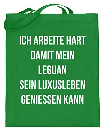 shirt-o-magic Leguane: Ich arbeite für Leguane - Jutebeutel (mit langen Henkeln) -38cm-42cm-Helles Grün