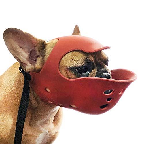 AUEDC Perro Boca Cubierta, Silica Gel Natural Perro Bulldog Bozal Casco Máscara Suave cómodo de Nariz Corta Perro Anti-Barking de mascar morder y Reanimación,Rojo