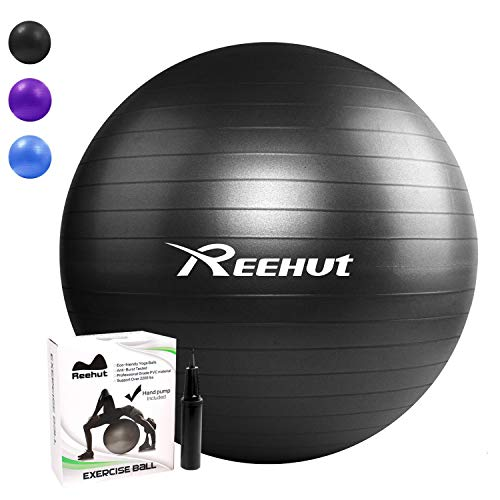 REEHUT Anti-Burst Gymnastikball + Pumpe mit Belastbarkeit bis zu 500kg Core-Training Fitness Yoga Pilates Ball - Schwarz 55CM