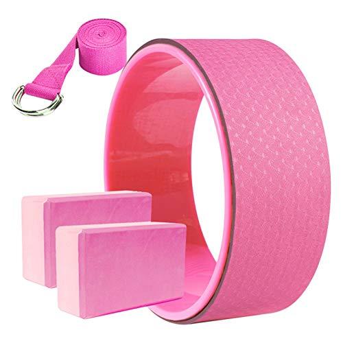 Rueda de yoga + 2 bloques de yoga + correa de yoga, cómodo y duradero accesorio de equilibrio de yoga- Anillo de entrenamiento para entrenamiento de espalda, anillo de yoga, pilates(rosa)