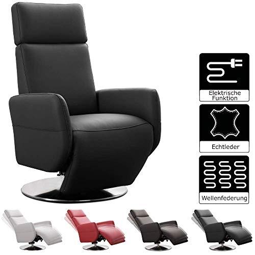 Cavadore TV-Sessel Cobra mit 2 E-Motoren / Elektrischer Fernsehsessel mit Fernbedienung / Relaxfunktion, Liegefunktion / Ergonomie M / Belastbar bis 130 kg / 71 x 110 x 82 / Echtleder Schwarz