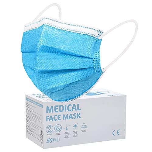 SOYES Medizinische Masken Mundschutz TYP IIR CE Zertifizierte 50 Stück Einweg-Gesichtsmaske - 3 Lagig Mund Nasen Schutzmaske - Einweg-Mundschutz EN 14683 Maske Schutzmaske für Erwachsene,BFE 99%