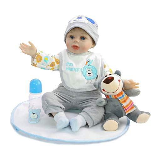 GuDoQi Muñeca Reborn Bebé 22 Pulgadas 55 cm, Realista Suave con Traje Azul, Juguete de Oso y Chupete magnético, Cuerpo con Pesas, Ojos Azules, Regalo para niños Mayores
