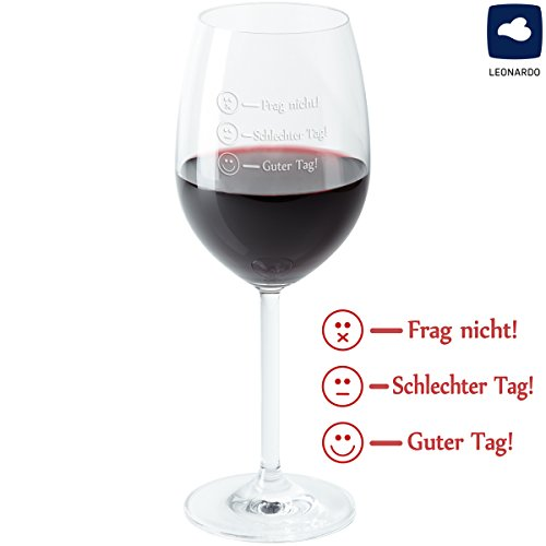 Geschenke 24 Leonardo Rode wijnglas - Frag Nicht - Goede dag grappige wijn glas met vulmarkeringen gegraveerd - merk glas met Smiley gravure afhankelijk van de stemming