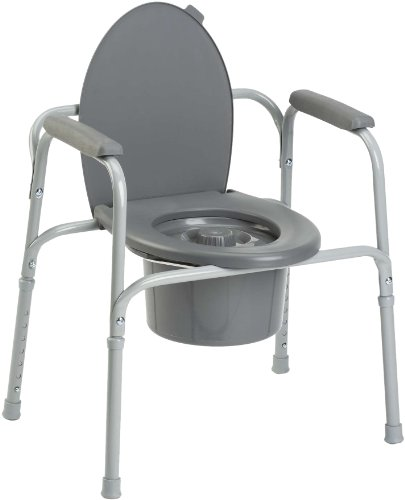 Invacare Styxo - Silla de wc 3 en 1  para personas mayores, Regulable en altura y con reposabrazos, color gris