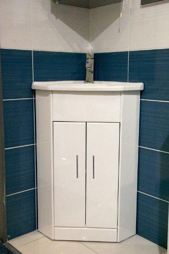 White Compact Corner Vanity Unit Bathroom Furniture Sink Cabinet Ceramic 570
