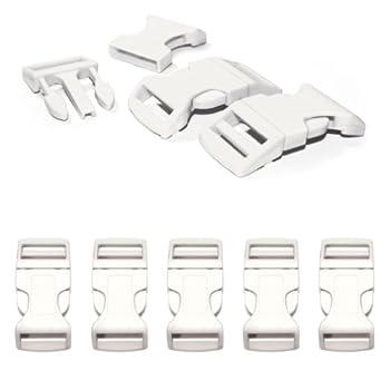 Fermoir à clip en plastique, idéal pour les paracordes (bracelet, collier pour chien, etc), boucle, attache à clipser, grandeur: XL, 1?, 65mm x 32mm, couleur: blanc, de la marque Ganzoo - lot de 5 fermoirs