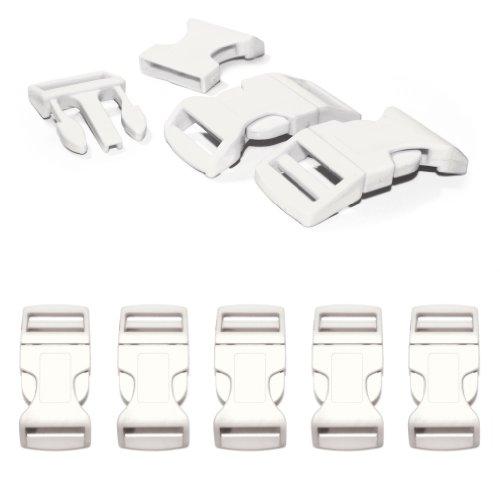 """Fermoir à clip en plastique, idéal pour les paracordes (bracelet, collier pour chien, etc), boucle, attache à clipser, grandeur: XL, 1"""", 65mm x 32mm, couleur: blanc, de la marque Ganzoo - lot de 5 fermoirs"""