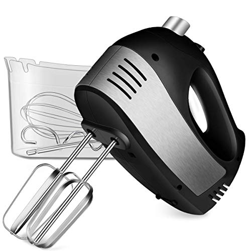Hand Mixer Electric, Cusinaid 5-Speed Hand Mixer with Turbo Handheld Kitchen Mixer Includes Beaters, Dough Hooks and Storage Case (Black) (Renewed)
