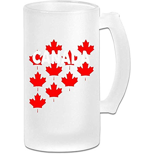 NHJYU Jarra de Cerveza Canada Maple Leaf Frosted Glass Stein Beer Mug - Personalized Custom Pub Mug- Gift for Your Favorite Beer Drinker