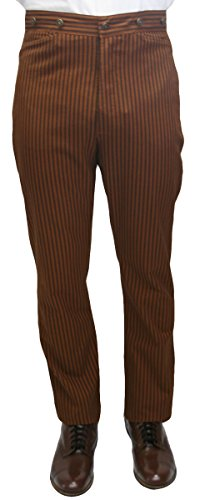 Historical Emporium Men's High Waist Chadwick Cotton Dress Trousers 52 Brown