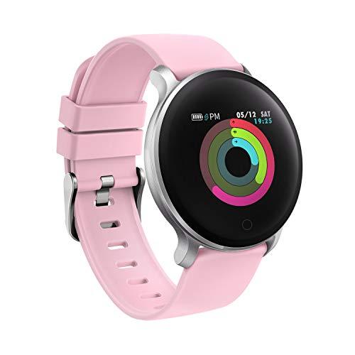 moreFit Fitness Armband Uhr, Smartwatch Fitness Tracker mit Pulsmesser Wasserdicht IP68 Fitness Uhr Pulsuhr Schrittzähler Uhr für Damen Herren Anruf SMS SNS Beachten (Rosa)