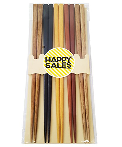 Happy Sales HSCH22/S, 5 Pairs Multi Color Design Japanese Bamboo Chopsticks Gift...
