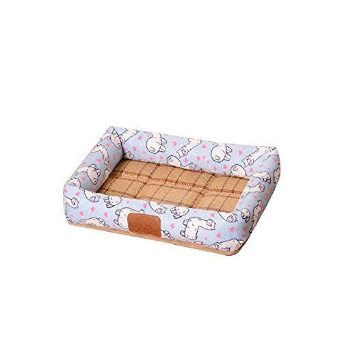 Reeseiy Mat Water Resistant Summer Dog Bed Cat Chic Pillow Puppy Sleeping Nest For Small Medium Size Dog Cat Ice Silk Cool Mat Pet Kennel Cooling Rattan Mattress (Color : C7, One Size : M 50x41cm)