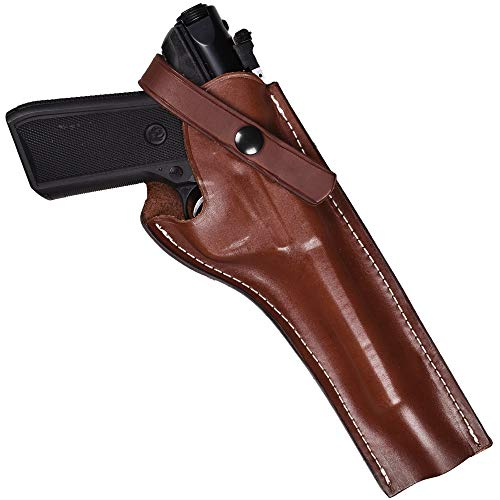 Leather Holster Compatible with Ruger MK I, II, III, IV handguns with 5.5-Inch Barrel | Leather Handgun Holster Compatible with Mark 22 handgun | Proudly Made in the USA (Right, Mahogany)