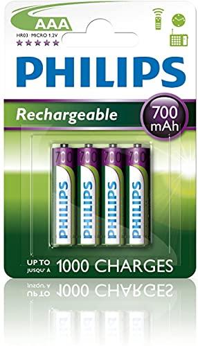 4 pile ricaricabili AAA Philips, 700 mAh, per BT 1500 1000, 2000, 2500, 4000, 4500