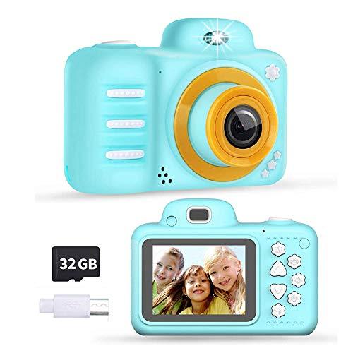 Macabolo digitale camera met 2,4 inch groot scherm, 1080P kindervideocamera met 32G geheugenkaart beste verjaardagscadeau voor kinderen, blauw