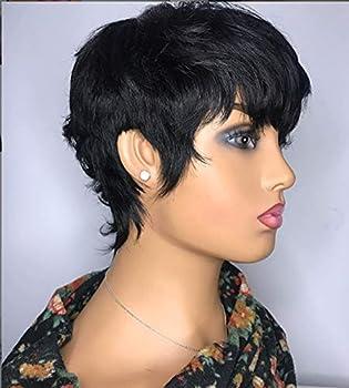 Vancehair full machine made Human Hair Short Wavy Wigs Short Human Hair Pixie Cut Layered Bob Wigs for women  Mix Length Natural black