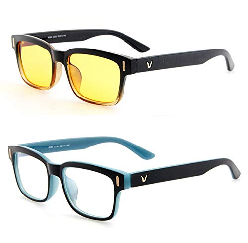 voso Blaues Licht-blockierende Brillen Gaming Computer gläser Blaulichtfilter Anti-Müdigkeit Anti-Blaulicht (Schwarz&Blau Rahmen + Weiß Linse)