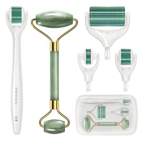 Dermaroller【Newest 2021】, ETEREAUTY 4 in 1 0.5mm Micronadeln Narbenroller für Gesichtspflege mit CE Kennzeichnung Microneedling 1.0/1.5mm für Anti Falten, Schwangerschaftsstreifen, Haarausfall