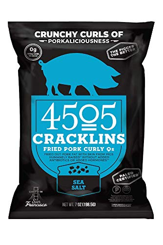 4505 Sea Salt Cracklins, All-Natural Fried Pork Curly Q's, Family Size Bag, 7oz