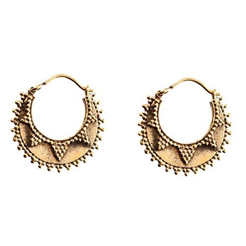 81stgeneration Women's Brass Gold Tone Ethnic Creole Tribal Hoop Earrings