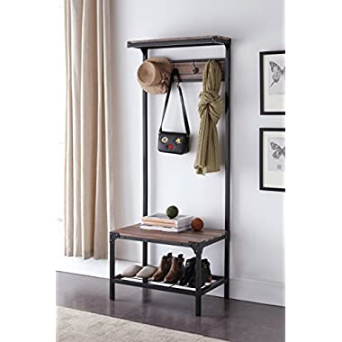 eHomeProducts Reclaimed Oak Industrial Look Entryway Shoe Bench with Coat Rack Hall Tree Storage Organizer 8 Hooks in Black Metal Finish