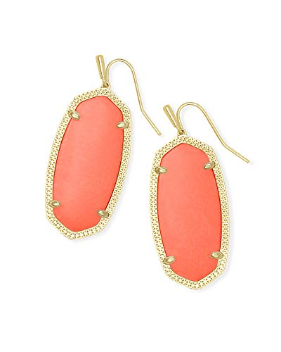 Kendra Scott Elle Drop Earrings for Women, Fashion Jewelry, 14k Gold Plated, Bright Coral Magnesite