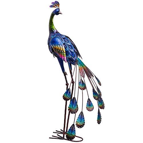 TERESA'S COLLECTIONS 89CM Pavo Real de Metal Adornos de Jardín, Decoración de Esculturas de Jardín, Estatua Figura de Jardín Ornamento para Jardín, Patio Interior, Casa, Patio, Césped