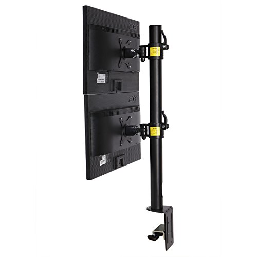 Fleximounts D1DV Full Motion Vertical Dual Desk Mounts Stand for 2 Screens up to 27 inch LCD Monitor POS Mount