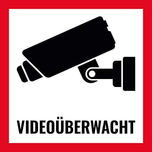 10 Premium Aufkleber Videoüberwacht für Innen- und Außenbereich, witterungsbeständig und UV geschützt, Schild für Videoüberwachnung und Überwachungskameras