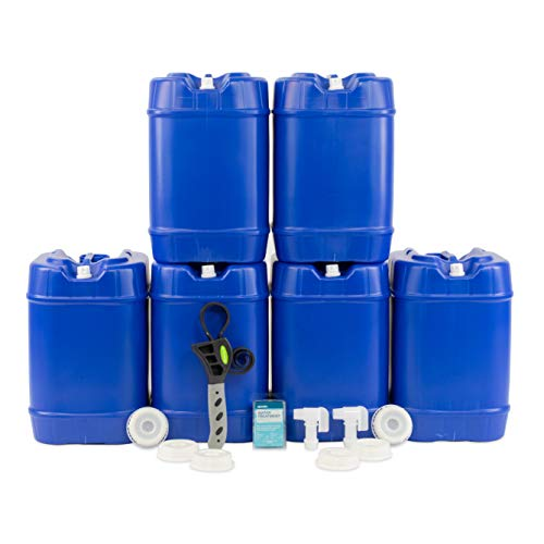 Emergency Water Storage 5 Gallon Water Tank - 6 Tanks (30 Gallons) - 5 Gallons Each w/Lids + Spigot & Water Treatment - Food Grade, Portable, Stackable, Easy Fill - Survival Supply Water Container