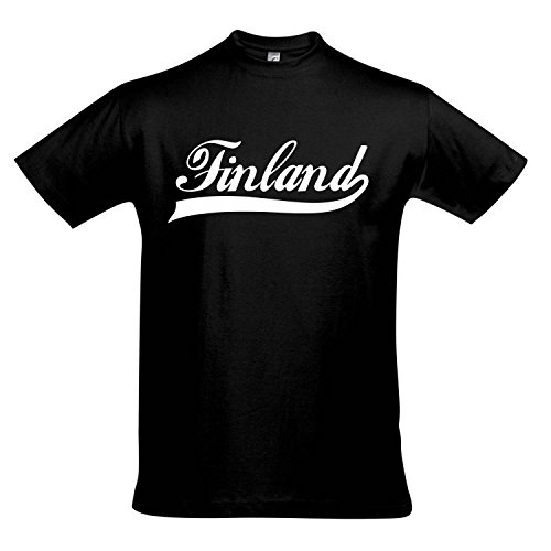 T-Shirt - Finland Oldschool Finnland LÄNDERSHIRT EM / WM FAN Trikot S-XXL , Deep black - weiß , XXL