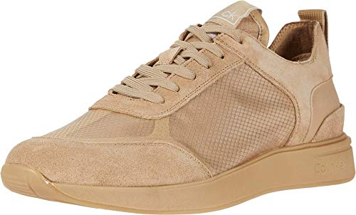 Calvin Klein Men's LACE UP Casual Sneaker, DARKSAND/LIGHTSAND, 8.5