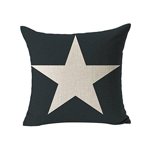 ZHOUBA Cute Animal Deer White Star Hidden Zip Linen Cushion Cover Home Sofa Bedroom Pillow Case - 3
