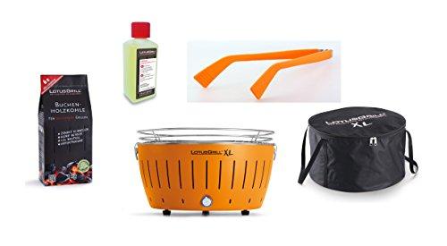 LotusGrill XL Starter Juego de 1 x lotusgrill XL Color Naranja 1 x haya Carbón vegetal 1 kg, 1x quemar 200ml, 1x salchichas Alicate , 1x bols