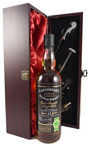 Glenfarclas 13 year old Malt Whisky 1990 Cadenhead's Bottling in einer mit Seide ausgestatetten Geschenkbox, da zu 4 Wein Accessoires, 1 x 700ml