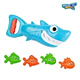INvench Shark Grabber Baby Bath Toys - 2021 Upgraded Blue Shark with Teeth Biting Action Include 4 Toy Fish Bath Toys for Boys Girls Toddlers