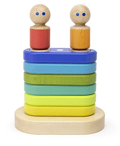 11Piece Tegu Magnetic Floating Stacker Building Block Set, Rainbow