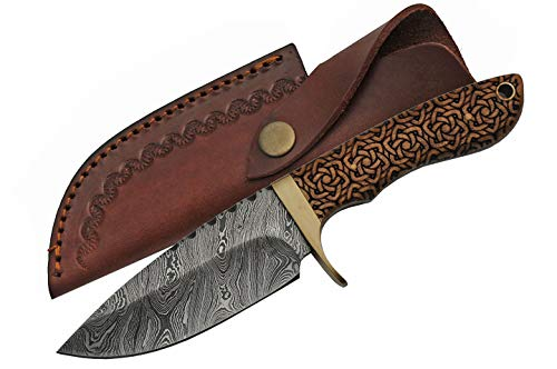 SZCO Supplies Damascus Celtic Knot Hunting Knife
