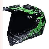SXRTL Casco de moto con visera de pico para motocicleta, casco de motocross, para Dirt Bike ATV Off Road con doble visera certificado ECE casco de cara completa, verde (57/58)