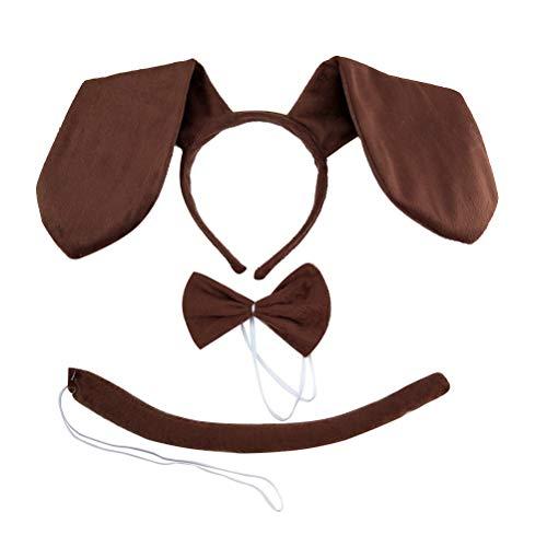 TOYANDONA Hund Kostüm Kinder Dackel Set Stirnband Fliege und Schwanz Karneval Party Kostüm Zubehör 3tlg